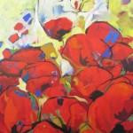 Papaverveld, acryl op doek, 100 x 120 cm