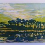 Derryclare Lough, Ierland. Kleurenlino op papier. 40 x 30 cm.              Adrienne van Wartum