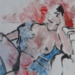 Zittende vrouw met blauwe doek. monotype-kleurpotlood op papier, 50 x 65 cm. Adrienne van Wartum