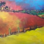 Zicht op Mont Dore, acryl op doek, 100 x 70 cm.