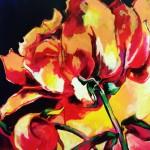 Wilde Pioenroos, acryl op doek, 100 x 120 cm        Adrienne van Wartum