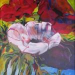 Anemonen met rokjes aan, acryl op doek, 90 x 120 cm