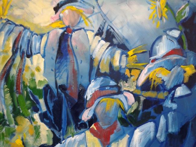 Epouvantail-Vogelverschrikker, acryl op doek, 100 x100 cm      Adrienne van Wartum