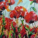 Grote klaprozen, acryl op doek, 100 x 140 cm