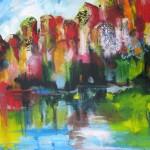Landschap weerspiegeld, acryl op doek, 100 x 120 cm               Adrienne van Wartum