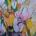 Magnolia roze, acryl op doek, 90 x90 cm                   Adrienne van Wartum