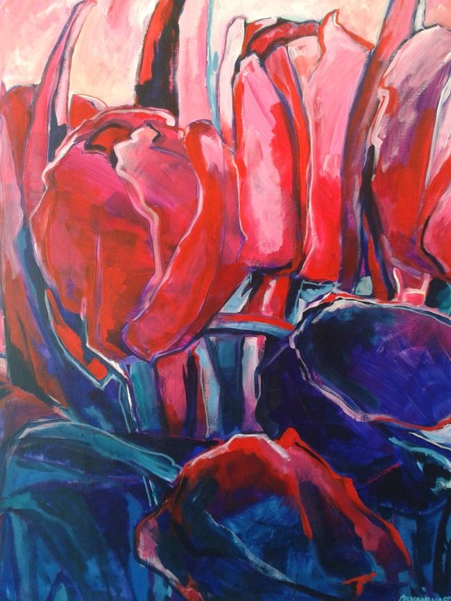 Tulpen in roze en paars, acryl op doek, 100 x 120 cm. Adrienne van Wartum