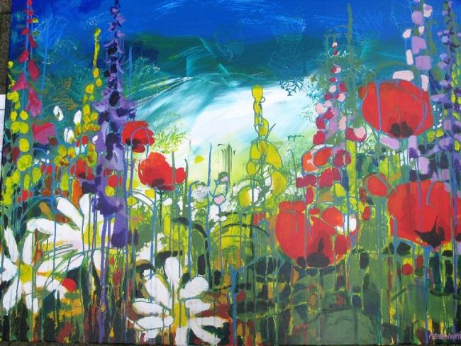 Veldbloemen, acryl op doek, 120 x 100 cm               Adrienne van Wartum