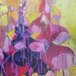 Vingerhoedskruid tegen geel, acryl op doek, 90 x 120 cm               Adrienne van Wartum
