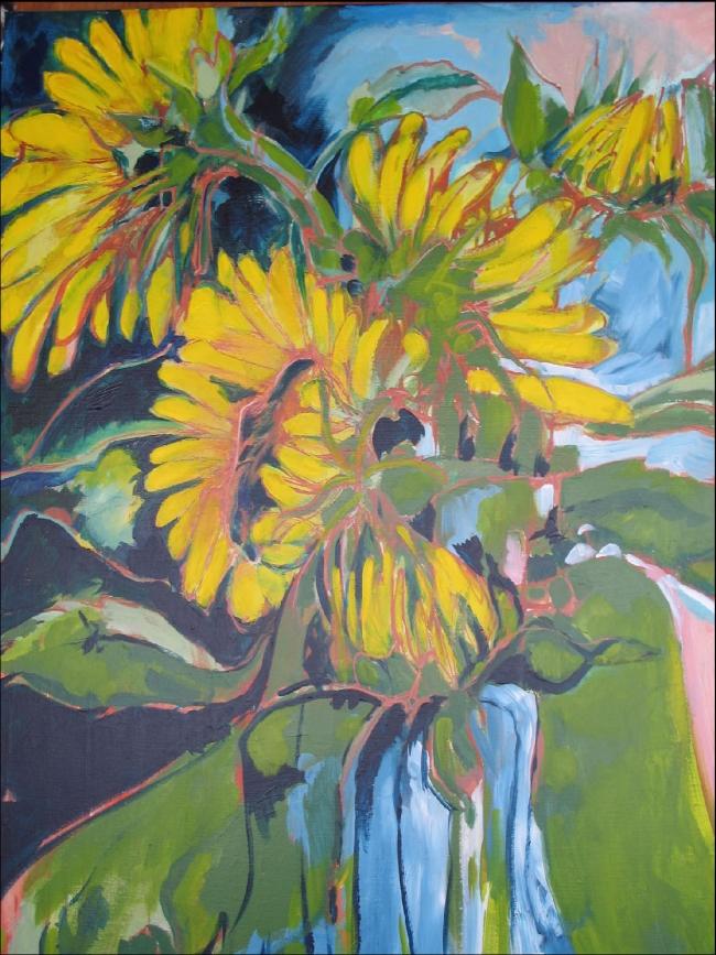 Zonnebloemendans,  acryl op doek, 100 x 120 cm -verkocht -
