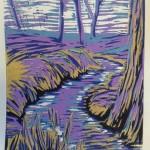 Beekje, paars. 5 kleurenlino, 40 x 30 cm.