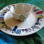 Beschilderd aardewerk - potloden bord met kom            Adrienne van Wartum