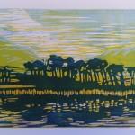 Eiland in Ierland, linoleumsnede. schilderij, kunstuitleen Adrienne van Wartum