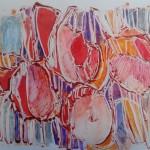 Tulpen 2013. Monotype, stift, kleurpotlood. 50 x 65 cm.