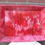 Beschilderd dienblad Tulpen. (verkocht)   Adrienne van Wartum
