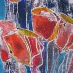 Gekleurde tulpen, monotype-krijt op papier, 60 x 60 cm -verkocht- Adrienne van Wartum