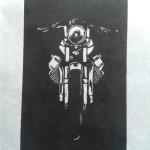 Guzzi V7-sport 10-7 woodcut 24 x 40 cm
