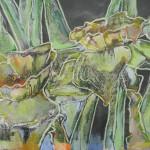 Jonquilles,met dank aan inkt, tuinslang, borstel en krijt...... op papier, 60 x 80 cm.              Adrienne van Wartum
