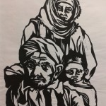 Kurdish family 10-5 woodcut 30 x 40 cm