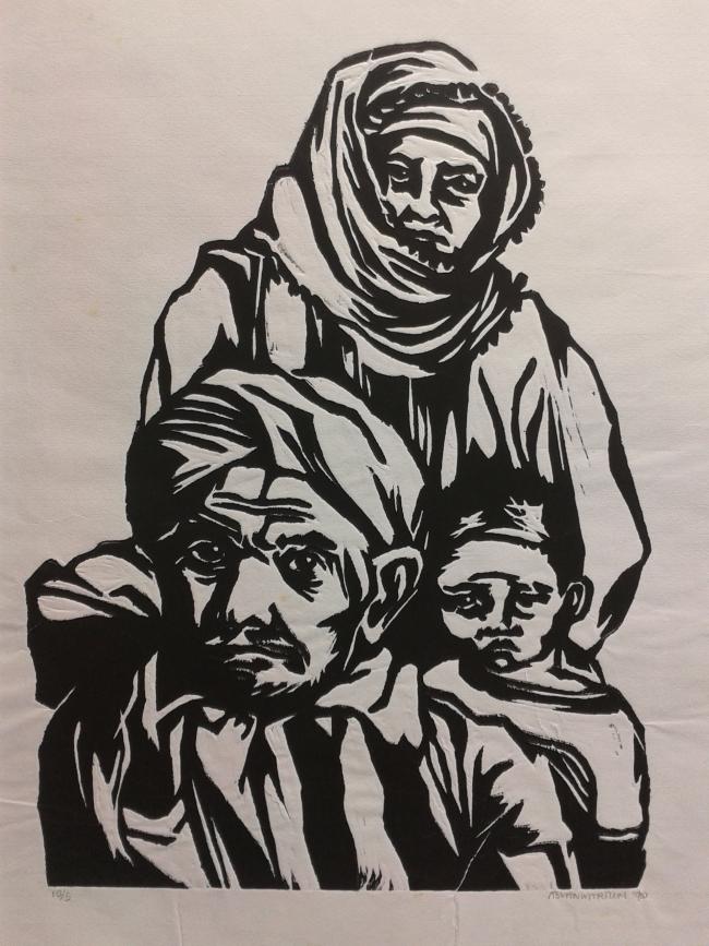 Kurdish family 10-5 woodcut 30 x 40 cm
