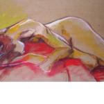 Liggend naakt op rood, gemengde techn. op pakpapier, 70 x 50 cm               Adrienne van Wartum