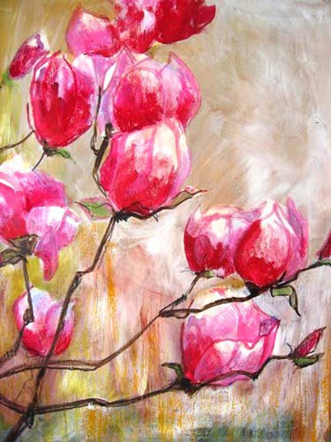 Magnolia, gem.techn. op papier, 60 x 80 cm -verkocht- Adrienne van Wartum
