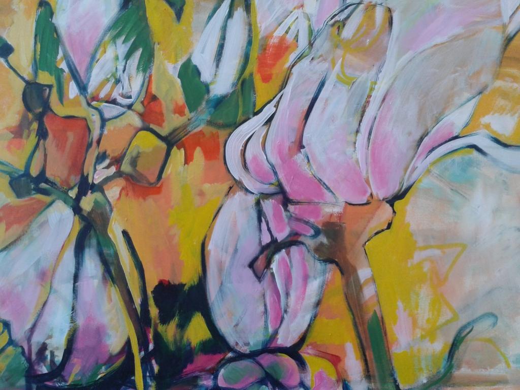 Magnolia. (detail) acryl op doek. 90 x 90 cm