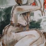 Model hangt op bank, inktsteen-bisters-krijt, 60 x 80 cm                Adrienne van Wartum