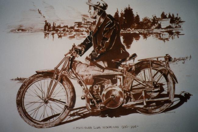 Motornostalgie in sepia op papier, 65 x 50 cm -verkocht-Adrienne van Wartum