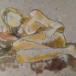 Naakt met rood kussen, acryl-inktsteen op snipperpapier, 90 x 60 cm          Adrienne van Wartum