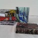 Notitieboekjes beplakt met origineel werk van Adrienne, een leuk cadeautje!  Adrienne van Wartum