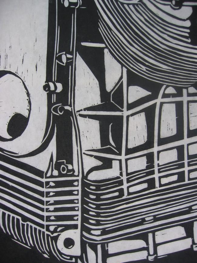 motorblok, houtsnede, 50 x 65 cm