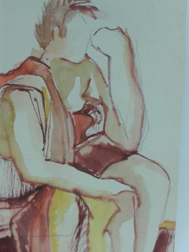 naakt met lap over schouder, aquarel