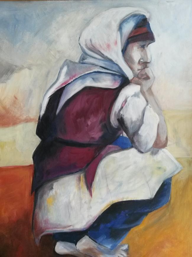 starende vrouw, olieverf op paneel