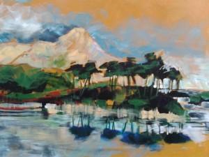 Derryclare Lough, Ierland, acryl op doek, 100 x 80 cm   Adrienne van Wartum