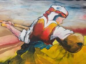Dumanli Daglar, acryl en collage op doek, 100 x 70 cm