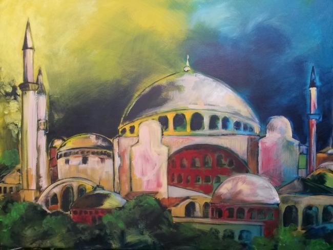 Haya Sofia, Istanbul acryl op doek,  100 x 70 cm.