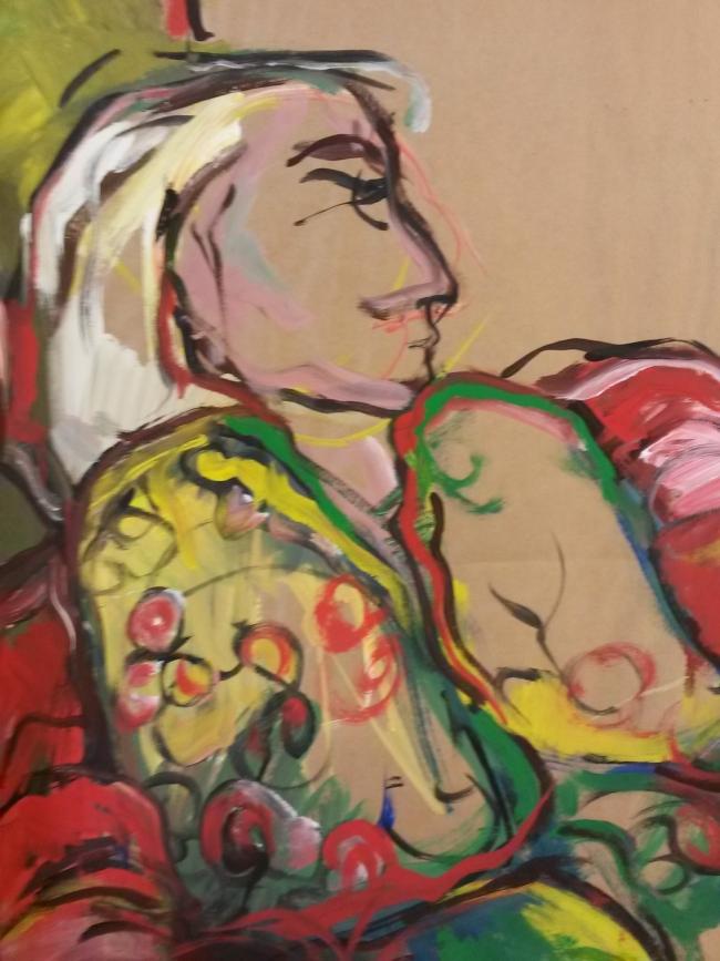 Vrouw in gebloemd vestje, acryl op papier