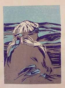 Vrouw met hoofddoek, linosnede
