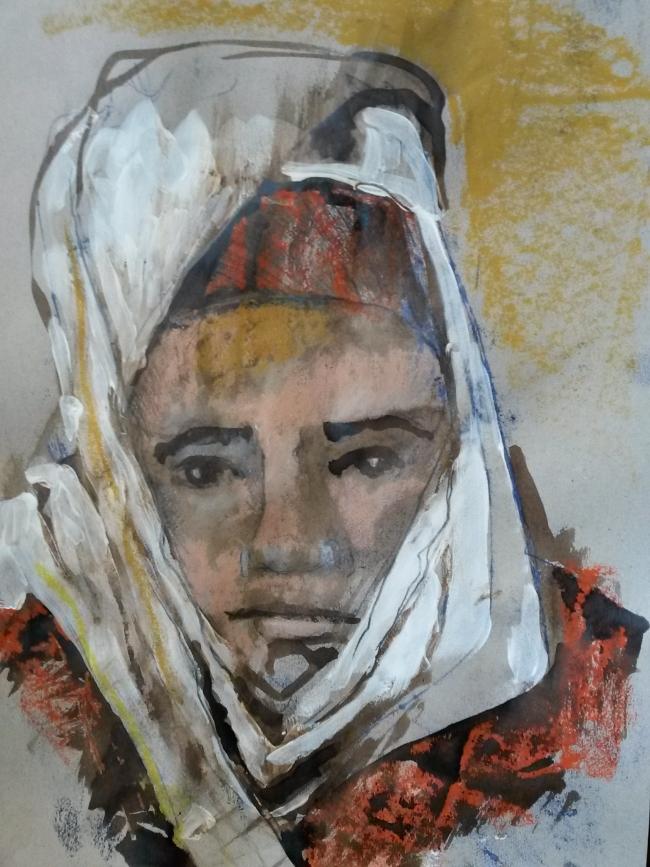 Vrouw met rood vest, tekening