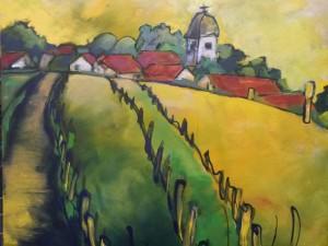 Onderweg naar het dorp, acryl op doek, 80 x 70 cm.