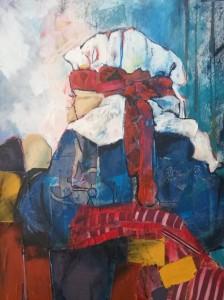 Ozlem (verlangen) acryl stofcollage op doek, 70 x 90 cm