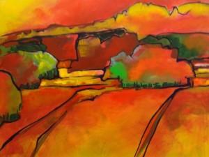 Vergezicht la Jonquille, acryl op doek 70 x 70 cm