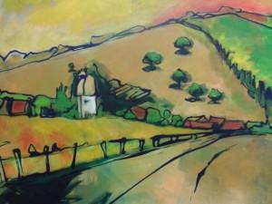 Zicht op Hurecourt, acryl op doek, 70 x 70 cm